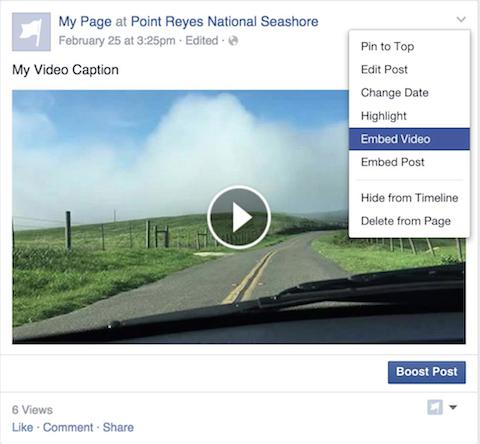 Video embedded Facebook