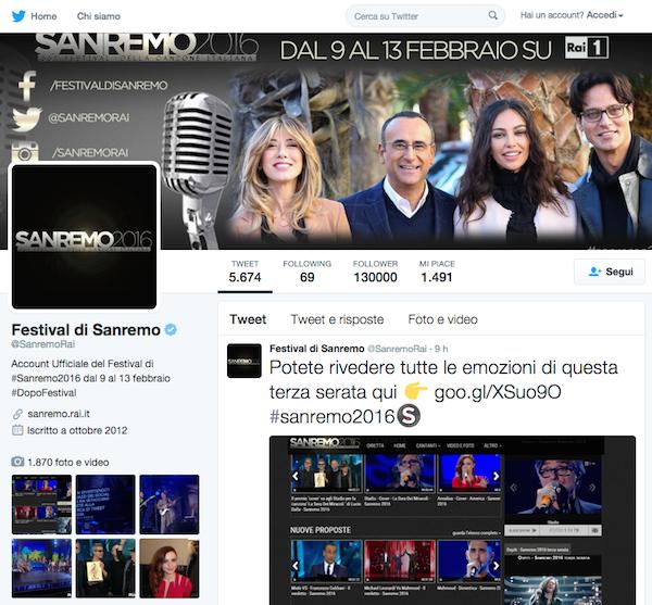 Sanremo twitter